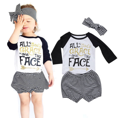 3PCS Newborn Infant Baby Girls Letter T-Shirt Striped Shorts Pants Baby Clothes  New Arrival Outfit Clothes Set For Newborns