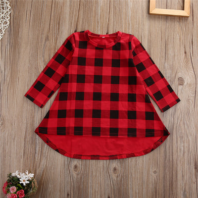Autumn Casual Baby Kids Girls Dress Long Sleeve Cotton Dress Checked Party Princess Formal Dresses