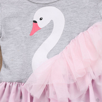 Baby Girl Swan Print Romper Dress Summer Lace Dot Tutu Dresses Kids Cotton Dress For Girls