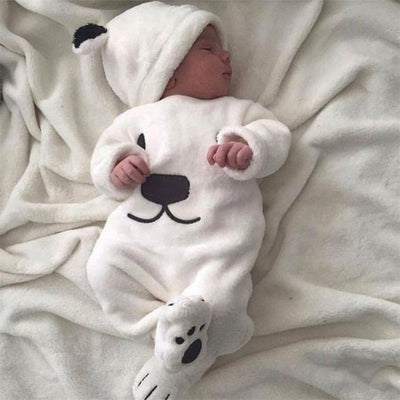 3Pcs Baby Unisex Thick Clothes Set Newborn Baby Boy Long Sleeve Top Pant Hat Cartoon Clothing Babys Girl Fluffy Clothes Set