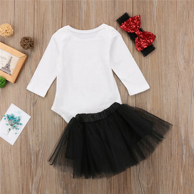 3Pcs Newborn Clothes Baby Girls Long Sleeve Romper Top Lace Tutu Skirt Dress Outfits Clothes With Headband Baby Clothes For Girl