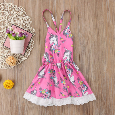 Baby Girls Dress New Summer Dress For Girls Baby Girl Sleeveless Floral Dresses Kid Cartoon Unicorn Horse Dresses