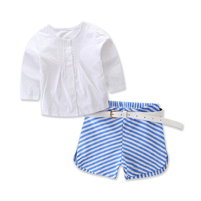 2Pcs Baby Kids Girls Summer Outfits Lace Vest Top Shirt  Striped Pants Shorts Clothes Outfits Set