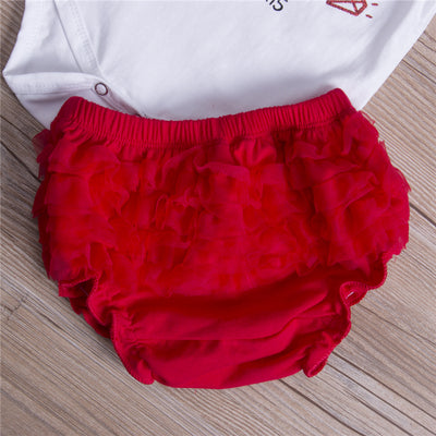 3PCS Hot Baby Girl Clothes Set Newborn Baby Girl Princess Romper Red Bloomer Pants Headband  New Outfit Clothes Set