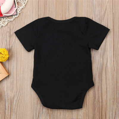Baby Clothing Newborn Baby Boy Girl Short Sleeve Romper Summer Black Letter Print Jumpsuit One-Pieces