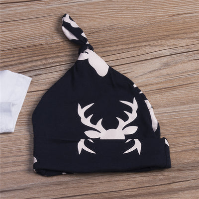 3PCS Baby Unisex Cotton Clothes Set Newborn Baby Girl Boy Letter Romper Deer Print Long Pants Hat  New Casual Outfits Set