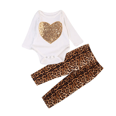 2PCS Newborn Infant Baby Girls Cotton Romper Leopard Pants Newborn Baby Clothes  New Arrival Fashion Outfit Clothes Set
