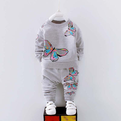 Autumn Girls Clothing Sets New Baby Girls Clothes Spring Children Clothing Cartoon Print Sweatshirts Pants Suit