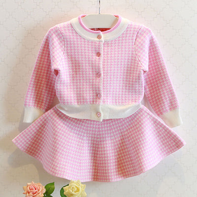 Autumn Girls Dress New  Knitted Suits Long Sleeve Plaid Jackets Skits 2Pcs for Girls Clothing Sets Kids