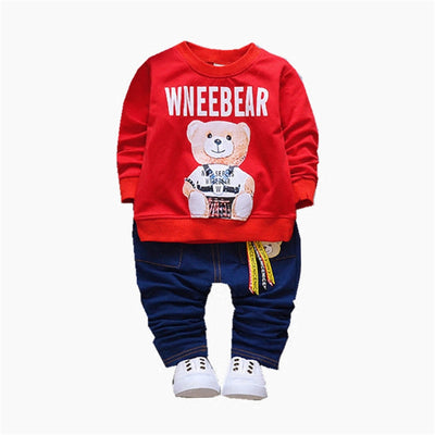Autumn Boys Clothes Set Kids Girls Cartoon Bear T-shirt Pants Set Children Boys Clothing Set Baby Boys Sport Suit