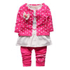 3PCS Baby Girls Clothing Sets Children Girls Polka Dot Jacket T-shirt Pants Suit Set Kids Christmas Outfits Clothes