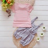 2 PCS Baby Girls Clothing Sets Newborn Kids Girls T shirt Tops Pants Overalls Outfits Clothes Set Summer Girls Clothing