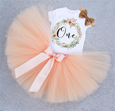 Baby 1st Birthday Outfit Dresses Baby Girl Floral Clothes Short Sleeve Baby Romper Dress Headband Party Clothing