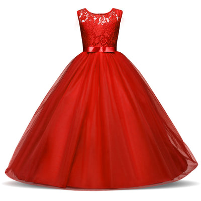 Red Christmas Dress For Girls Princess Party Costume Lace Girls
