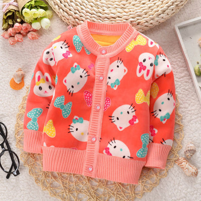 Autumn Baby Girls Knit Sweater Coat Children Long Sleeve open stitch Clothes Girls Causal Jacket Kids Cotton Clothing