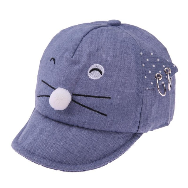 bc2fc55c5 Spring Summer Baby Sun Hat Cute Cartoon Cat Shape Ears Girls Boys Baseball  Caps Outdoor Soft Brim Sunshade Beanie Cap for Kids