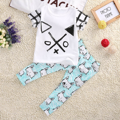 2Pcs/set Kid boys clothes set Short sleeve T-shirt +Long Pants Fox Printed Outfits Clothes 0-4Y