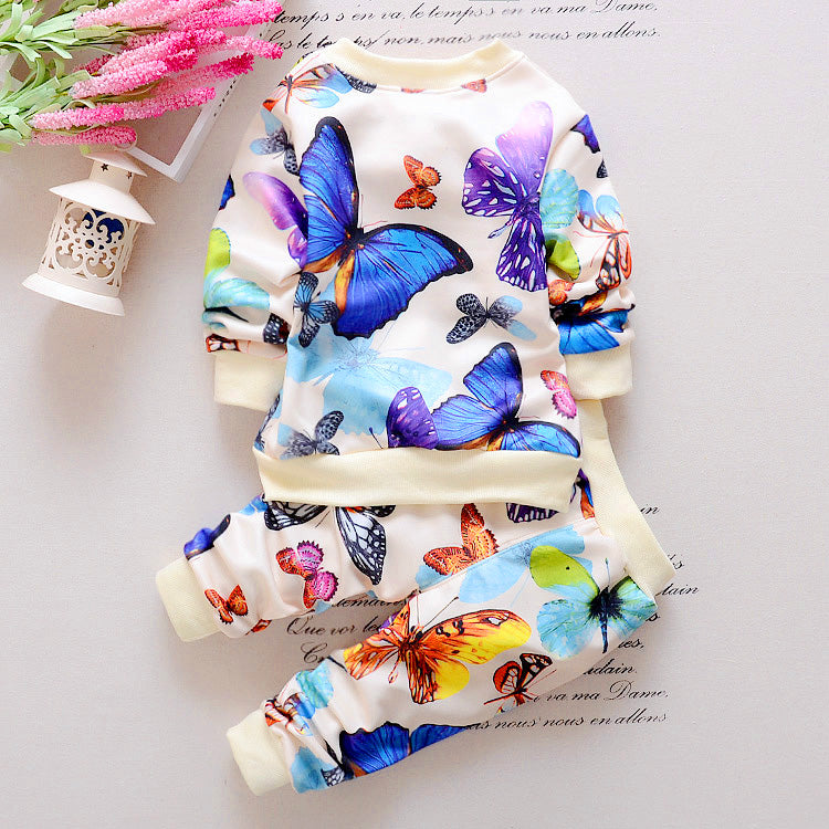 bd803af54247 2PCS Baby Toddler Kids Girls Clothes Butterfly Zipper Coat Tops+ ...