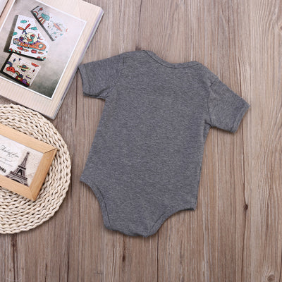 Hot Baby Boy Girls Casual Romper Gray Color Letter Printed Jumpsuit Clothes Outfits 0-24M