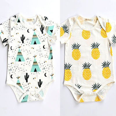 Cotton Newborn Baby Girls Summer Clothes Tents and Pineapple Short Sleeve Romper Outfits