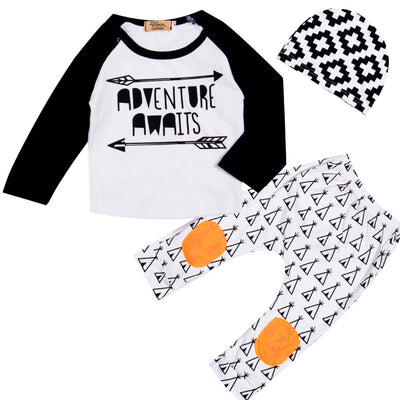 Autumn New baby boy clothing set fashion cotton long-sleeved letter T-shirt+ Pants+hat 3pcs newborn baby boy clothes set