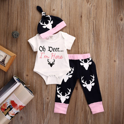 Autumn Cute Newborn Baby Girl Clothes Deer Short Sleeve Romper + Pants Casual Hat Cap 3pcs Outfits Set