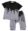 Summer Baby Boys Clothing Set Short Sleeve Black Baby Boy Clothes Set Children T Shirt Pant 2pcs Set