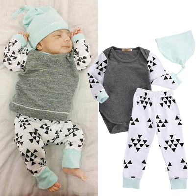 3pcs Baby boy/Girl Clothing suits Children Clothing Set Romper+pants+hat Newborn Baby Clothes Cotton Baby set