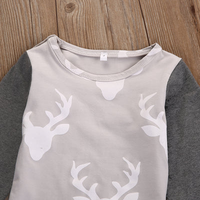 New baby Boys clothes Deer rompers + pants + hat baby winter clothing sets kids suit