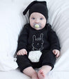 Autumn Kids born Infant Baby Boys Girls Lace Rabbit Romper Long Sleeve Cotton Jumpsuit Hat Outfits