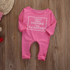 Baby Girls Warm Infant Pink Long Sleeve Romper Letter Printed Jumpsuit Cotton Clothes Outfit