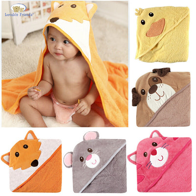 New Friends Animal Square Hooded Bath Towel Set Baby Product Cartoon Baby Robe 100% Cotton Infant Bath Towels