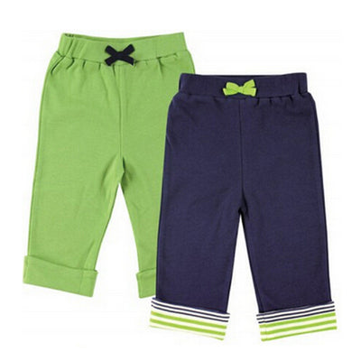 New Style Baby Pants 2 Pieces 100% Cotton Blue/Green Athletic Feature Para Trousers Baby Clothing
