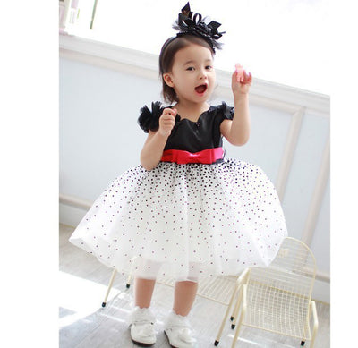 Xmas Clothes Baby Girls Kids Starry Sky Polka Dot Party Fluffy Formal Wedding Princess Dress Gown