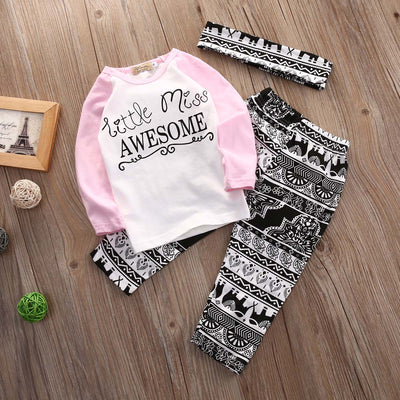 3pcs/Set kids girls sets clothes Headband+long Sleeve T shirt+pants Children's Clothing Set Girls Clothes Suits Geometric Floral