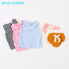 Baby Girls Boys Tops Tees Multi color Plaid Lapel Sleeveless T-shirt Children Clothes