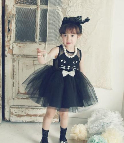 Kids Girls Toddler Baby Sleeveless Princess Dress Bow Black Tutu Dress Cute Cat Lace Dress