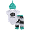 3Pcs/Set! New autumn baby Boy girl clothes set Cotton Romper + striped pants+Hats 3pcs newborn baby clothing set