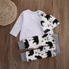 3Pcs Baby Boys clothes Bear letter Pattern long sleeve Romper+ pants +Hat 3pcs suit newborn baby boy clothing set
