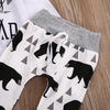 3Pcs baby Boys clothes Bear letter Pattern long sleeve Romper+ pants +Hat newborn baby boy clothing set