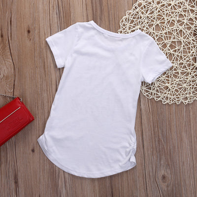 New fashion baby girls cotton t-shirt Girls Summer Letter Print Tops Short sleeve T-shirt Clothes 2-7Y