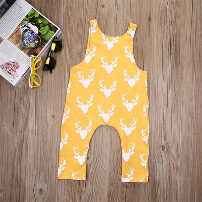 New Summer Unisex Baby Boys&Girls Sleeveless Rompers Baby Clothes deer Printed Jumpsuit for 0-2years