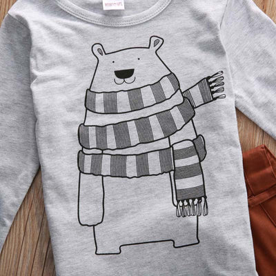 2pcs/Set ! Autumn Toddler Baby Boy Kid Casual Bear T-shirt+Long Pants 2pcs Outfits Clothes Set