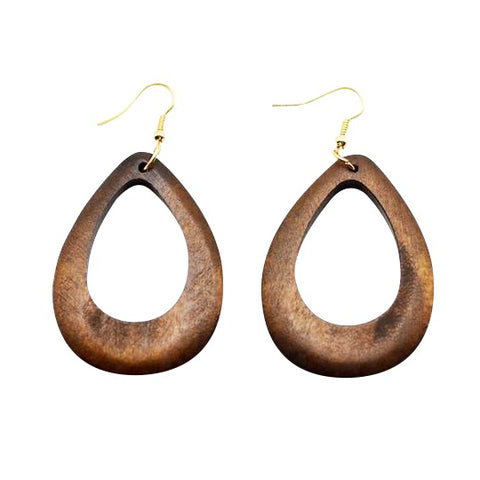 wood drops African earrings