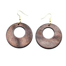 African circle wood earrings