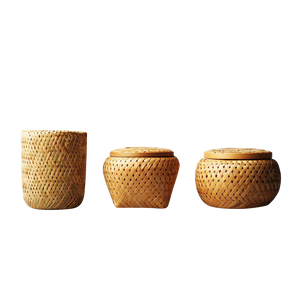 Bamboo weaving Storage Jars