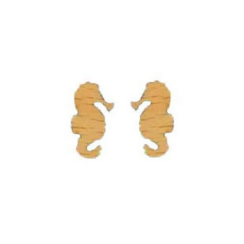 Seahorse wood stud earrings
