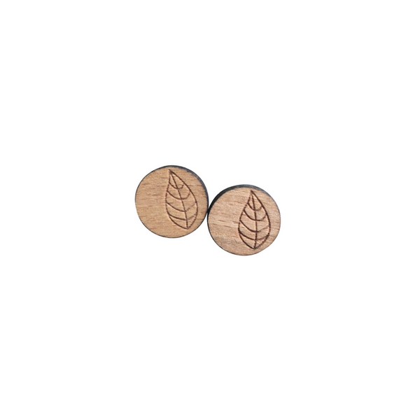 Natural wood engraved leaf earrings