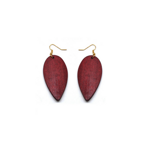 Wine wood pendant earrings