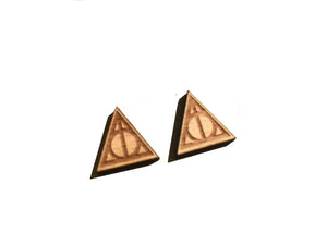 Geometric triangle wood stud earrings